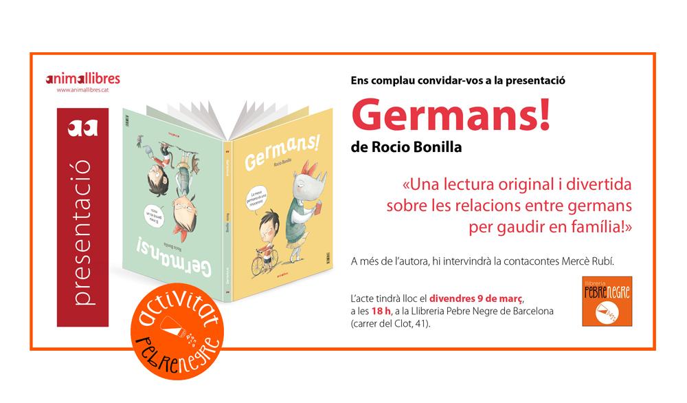 [DV 9/3/18, 18h] presentació de GERMANS! amb Rocio Bonilla