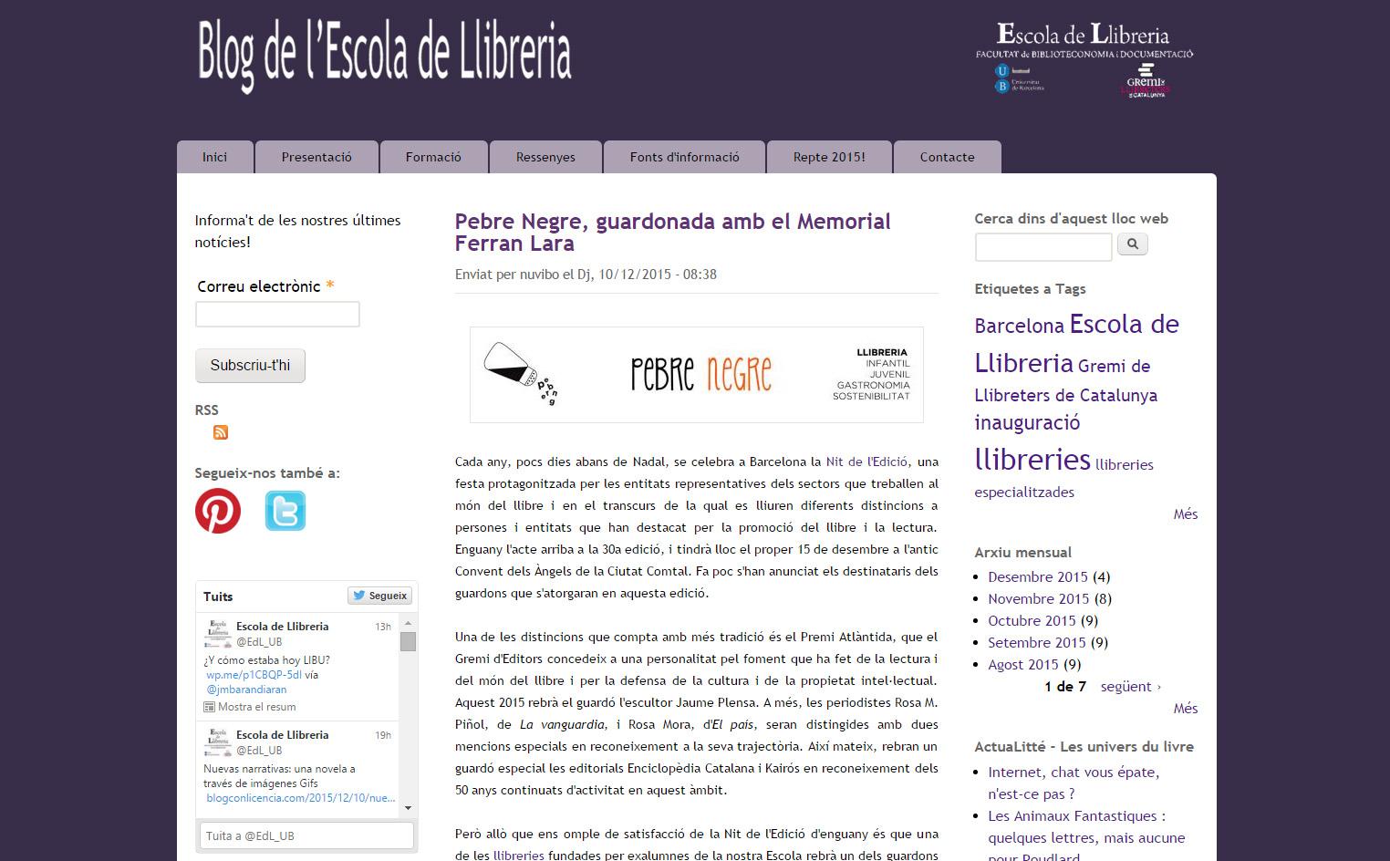 Llibreria Pebre Negre guardonada amb el Premi Ferran Lara