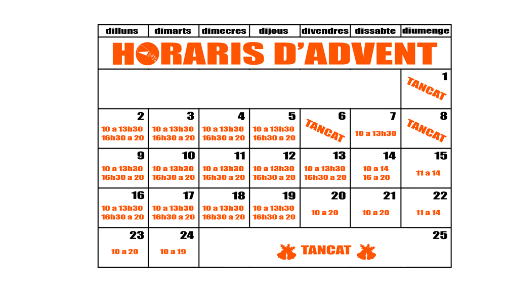 Nous horaris d'advent